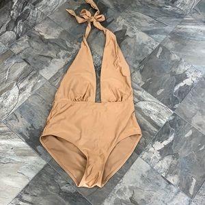 Asos gold deep v one peice swimsuit size us6 euc